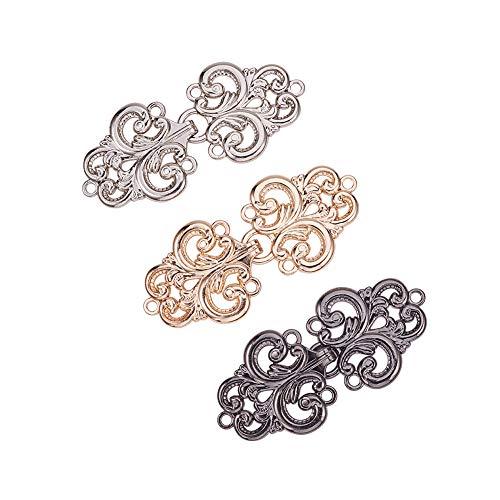 WANDIC Umhang-Verschlüsse, 3 Paar 3 Paar Wirbel-Blumen-Umhang-Verschlüsse zum Annähen an Haken und Ösen, Cardigan-Clip