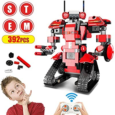 Anysun Building Blocks RC Robot, STEM Remote Control Robot Bricks Creative Toys Educational Building Kits Intelligent Rechargeable Construction Building Robot Learning Toy Gift for Boys Girls (Red)