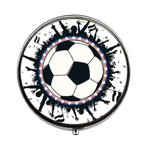 Pillendose mit Fußball-Motiv, Süßigkeiten-Box, Fußball, Schmuck, Geschenk für Sport, Spieler, Fußball, Schmuck, Glas