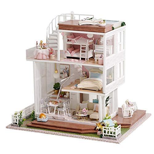 Lancei DIY Puppenhaus - DIY Miniatur Puppenhaus Kit, Handgemachtes Haus Mit Möbel Musik Bewegung Für Weihnachten Geburtstag