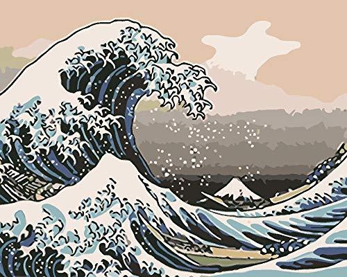 DIY Acryl Schilderij Geschilderde Golven Verf door Getallen voor Volwassenen Kinderen16*20 Inch Linnen Doek Digitale Schilderij door Getallen Kits Op Doek.40 * 50Cm