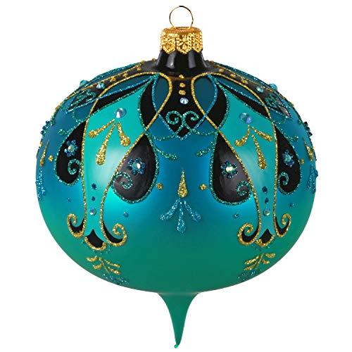 Hallmark Keepsake Christmas Ornament 2020, Turquoise Blue and Gold Ornate Onion, Blown Glass