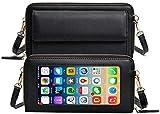 TGYY Monedero para mujer, funda para pantalla táctil, bolso de hombro, cartera, piel, cruzado, protección RFID, cartera con 16 ranuras para tarjetas, pequeño teléfono móvil para 12/11/XR/Xs