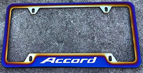 Estodian Blue Burnt Rainbow Chameleon Colorful Car License Plate Tag Holder Frame for Honda Accord 304 Stainless Steel (1)