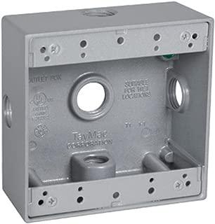 TayMac DB550XS 4-1/2-Inch X 4-1/2-Inch Gang 2-Inch Deep Weatherproof Box, 1/2-Inch Outlets, Side Lug, Gray