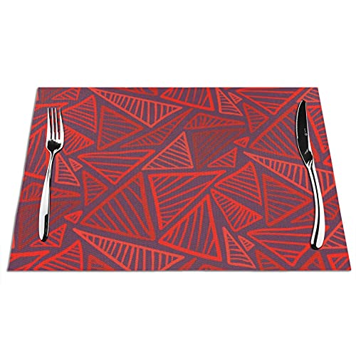 Bright Red Triangles Placemats for Dining Table Set of 4, Anti-Skid Heat-Resistant Washable PVC Table Mats Durable Stain Resistant Woven Kitchen Table Mats