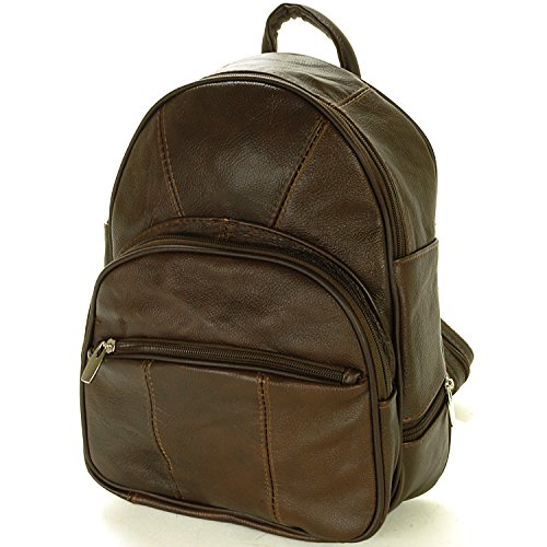 Leather Backpack Purse Mid Size & Convertible into single strap sling Bag or Backpack wearing Multiple Organizer Pockets Dark Brown
