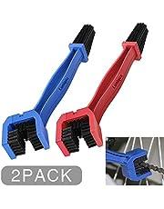 Luniquz Kettingreinigingsborstel kettingborstel schone borstel voor het reinigen van motor-, fiets- of scooterkettingen (2 stuks blauw en rood)