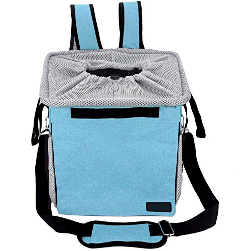 NZAUA Bicycle Pet Basket Carrier Bag Pet Carrier Booster Backpack for Dogs and Cats with Big Side Pockets,Comfy Padded Shoulder Strap,Travel with Your Pet Safety Blue