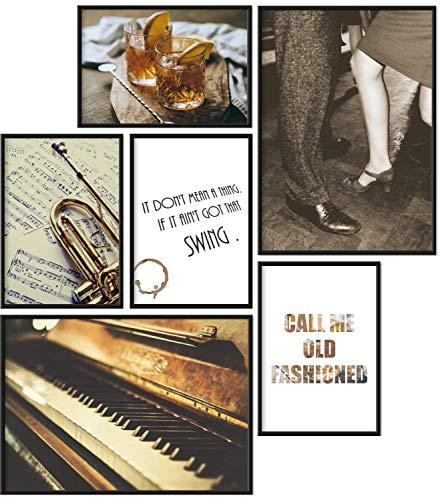 Papierschmiede® Mood-Poster Set Jazz | 6 fertig gerahmte Bilder in schwarzen Holzrahmen | 2X DIN A4 und 4X DIN A5 | Musik Klavier Trompete