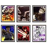 MS Fun - Poster da parete originale con trifoglio di colore nero, asta Yuno Yami, per decorazione della casa, 20 x 25 cm, senza cornice, set da 6