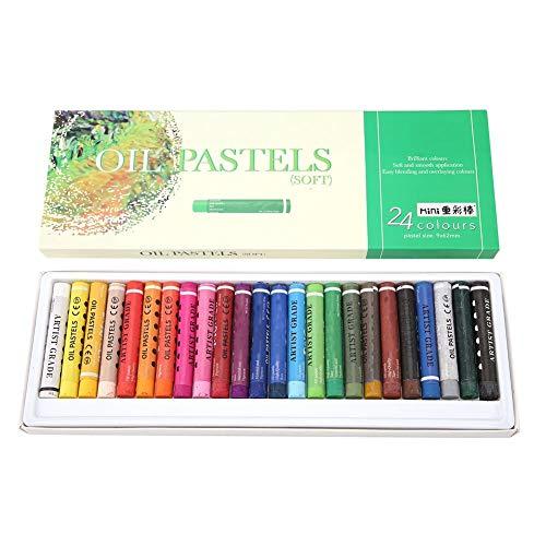 Soft Oil Pastel Pen Set, 24PCS/Set Professional Graffiti Délicat 24 Couleur Soft Pastel Pen Essential Outils Ensemble pour la Peinture Dessin Art École Papeterie Fournitures