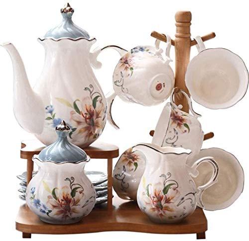 Teapots Porcelain tea units for Women's Tea Party Service for eight espresso units with saucers Cups Teapot Tea Tray Sugar Bowl Creamer Storage Rack (Blue)