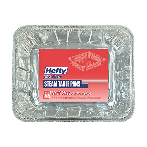 Hefty Disposable Aluminum Half-Size Steam Table Pans, 10 Count