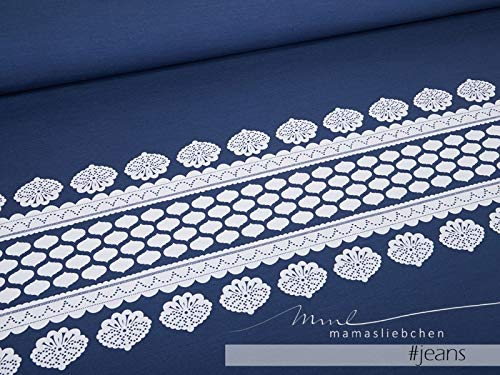 Mamasliebchen Jersey-Stoff Lacing #Jeans-White (1 Panel, ca. 0,8m) Bordüre Ornamente Panel
