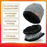 MZ026 BT5.0 Conectado Música Gorro de lana de lana con bufanda Set Contestador con un clic/Colgar Micrófono incorporado 200mAh Batería recargable de alta capacidad Gris para adultos Talla única