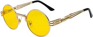 Inlefen Occhiali da sole Uomo Donna Round Retro Vintage Round Style Occhiali da sole Colored Metal Frame Glasses Glasses