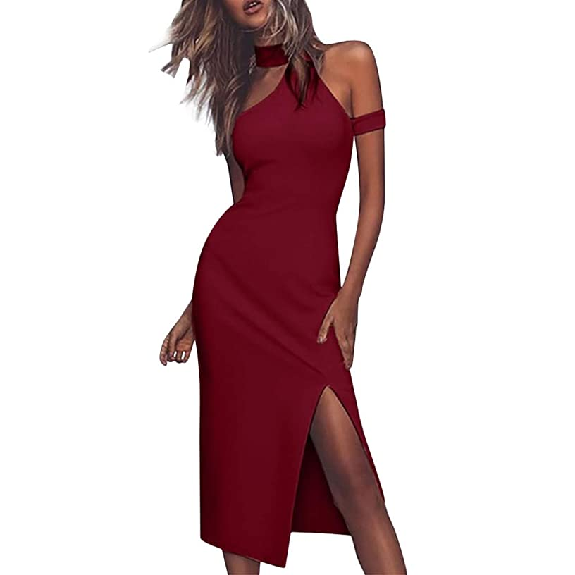 JULYKI Women Fashion Summer Dresses Halter Off The Shoulder Bodycon Dress Sexy Split Party Club Dress