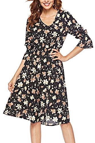 FUTURINO Damen Retro-Blumenmuster Kleid V-Ausschnitt Chiffon Kleid Langarm Blumen A Linie Blumen Elegant Vintage Cocktailkleid, Schwarz 02, XL(EU 42)
