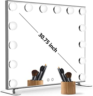Nitin Lighted Vanity Mirror with Touch Control Design, Hollywood Style Makeup Mirrors with Lights, Tabletop or Wall Mounted Vanity Mirrors (Silver)