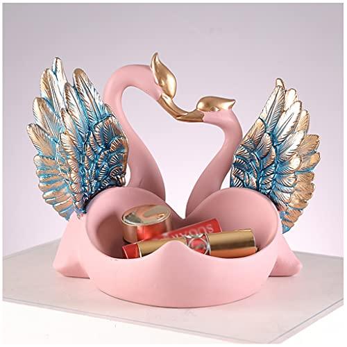 KHUY Unique Vaciabolsillos Moderno, Bandejas Decorativas Oficina Organizador Llaves Double Swan Decoration Ornament con Alas Brillantes Bandeja para Dejar Llaves, Regalo de Boda (Color : Pink)
