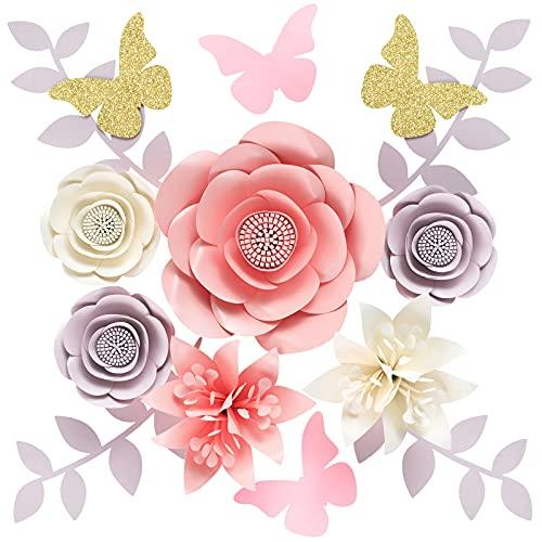 Houpoo 3D NO-DIY Papierblumen Dekorationen (9er-Set) Große Hochzeit Tissue Künstliche Blumen Mittelstücke Geburtstag Hintergrund Kinderzimmer Wanddekoration Photobooth