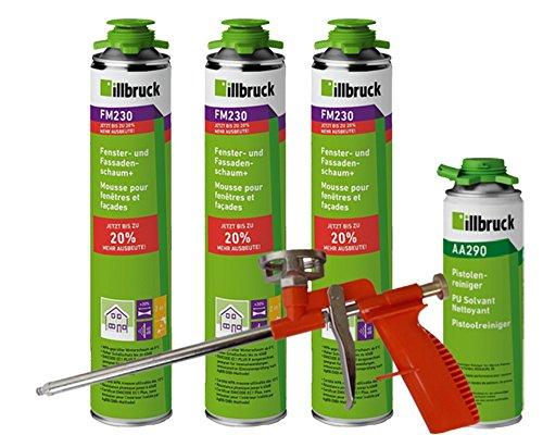 illbruck Profi Set 3 x FM230 Fenster- und Fassadenschaum+ á 880ml Dosen + illbruck AA290 Reiniger + Schaumpistole Compact