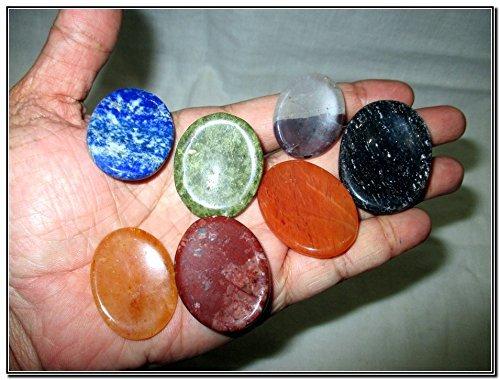 Fantastic Chakra Gemstone Worry Stone Set Palm Stone Thumb Stone Crystal Therapy Geometry Platonic Solid Sacred Air Water Earth Fire Hexagon Tetrahedron Hexahedron Icosahedron