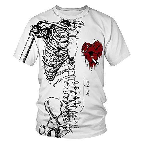 Paar 3D Korte mouw, Bedrukte T-shirts, Skelet en Hart Patroon, O-hals 3D Creatieve Top,Mooie Casual Korte mouw, voor mannen en vrouwen