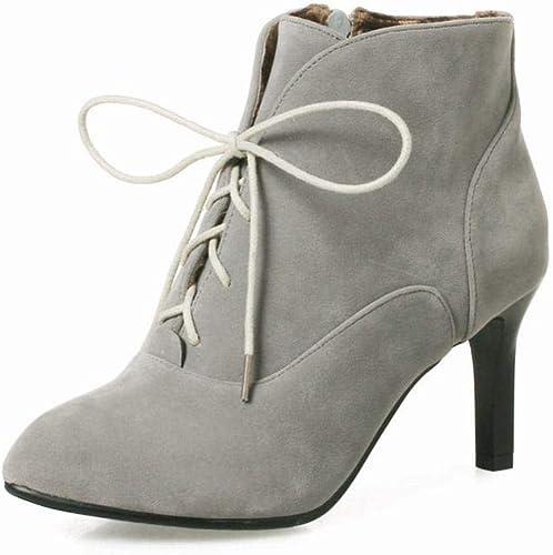 Fuxitoggo Stiefel para damen - Cordones para el otoño y el Invierno Stiefel Martin Stiefel de Estilete con Punta schuhe de Gran tamaño para damen 36-43 (Farbe   grau, tamaño   43)