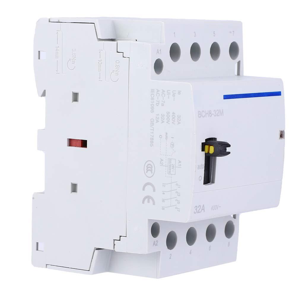 BCH8-32M Interruptor de contactor de CA doméstico de alta sensibilidad con función manual Montaje en riel DIN 4P 24V 32A(4NC)