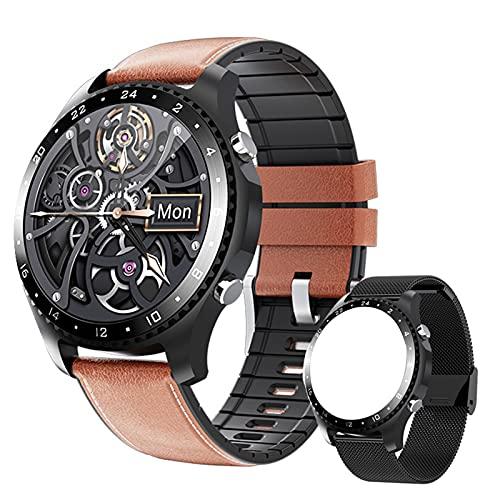 Reloj inteligente Hombre con Medidor de Temperatura Corporal/Llamada Bluetooth/Pulsómetros/Sueño/SpO2/Presión Arterial, 11 modos deportivos, Fondo de bricolaje, Pulsera Actividad Inteligente ,Marrón