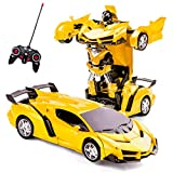 Highttoy Remote Control Cars for Kids Ages 5-12,Transformers Toys for Boys Girls 2 in 1 Deformation RC Car One-Click Transforming Robot Car for Kids Birthday Gifts for Boys Girls Yellow