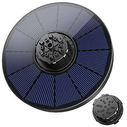 OKMEE Solar Springbrunnen mit 7 Effekte, 1.8W Solar Wasserpumpe 2021 Upgrade, Solar Teichpumpe/Solar schwimmender Fontäne Pumpe mit 2 Düsen für Gartenteich/Springbrunnen/Fisch-Behälter