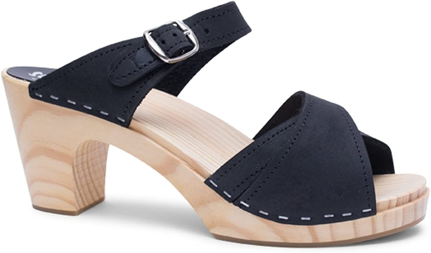 Sandgrens Swedish Clog Sandals High Rise Wooden Heel for Women   Dubai