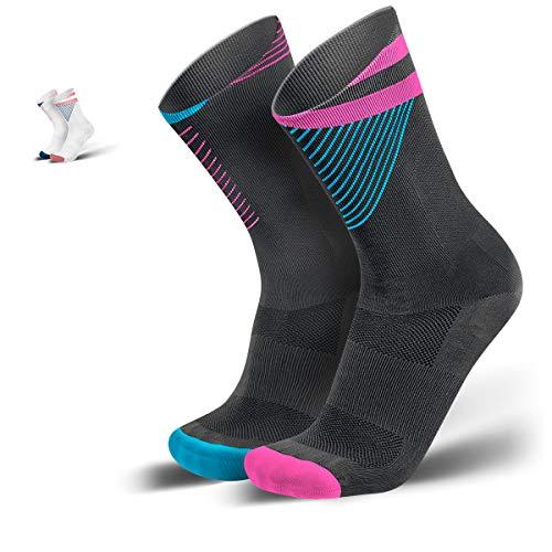 INCYLENCE Reversed - Hochfunktionelle Running-Socken für Damen & Herren für unübertroffene Atmungsaktivität, Anti-Blasen, perfekte Passform, Laufsocken mit Blasenschutz Pink/Cyan 43-46