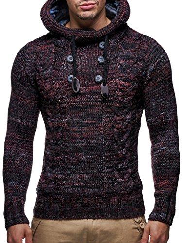 Leif Nelson Herren Strick-Pullover Strick-Pulli mit Kapuze Moderner Winter Woll-Pullover Langarm-Sweatshirt Slim Fit LN20227 Rot Medium