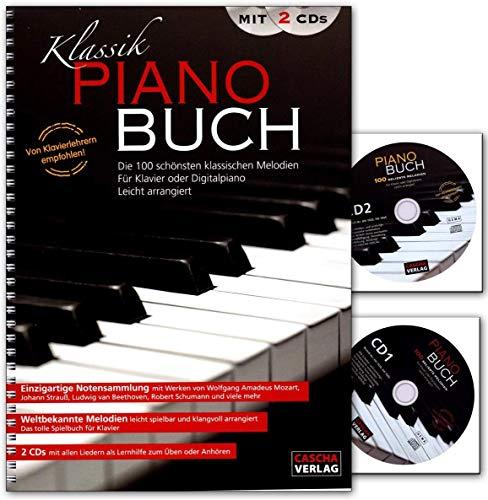 Klassik Piano Buch mit 2 CDs - eine wunderbare Sammlung der 100 beliebtesten und schönsten klassischen Melodien für Klavier - Notenbuch mit 2 CDs - HH1020 4026929917140