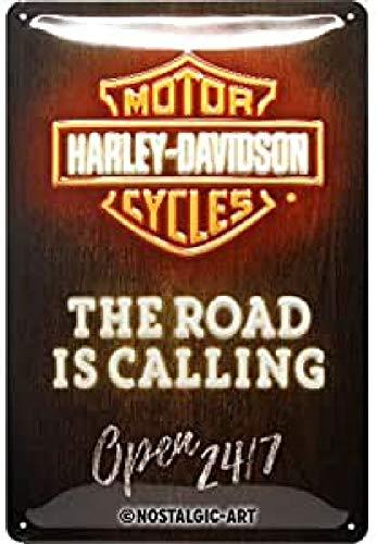 Nostalgic-Art Cartel de Chapa Retro Harley-Davidson – Neon – Idea de Regalo para los Fans de Las Motos, metálico, Diseño Vintage, 20 x 30 cm