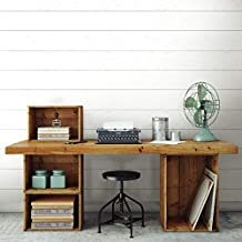 RoomMates RMK11808WP Shiplap Peel and Stick Wallpaper, White and Grey