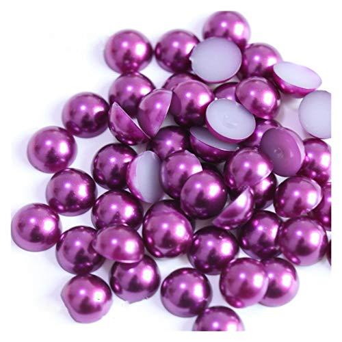 WEIGENG Perlas de acrílico de 2/3/4/5/6/8/10/12/14 mm de imitación de perlas medias redondas de color rojo negro y rosa para hacer joyas (color morado, tamaño: 12 mm x 50 unidades)