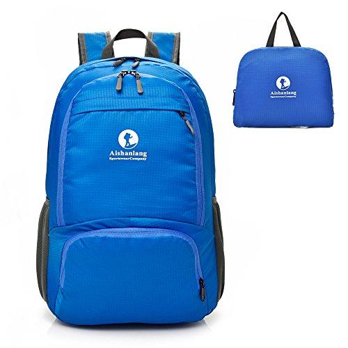 Young Min Mochila Plegable Ligera 25L, Mochila Compact Impermeable Bolso de Viaje para Hombre Mujer Nylon Resistente para Senderismo, Camping, Ciclismo Deportes al Aire Libre (Azul)