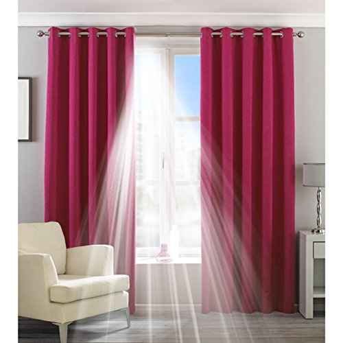 Riva Home Cortinas de anillas modelo Eclipse Blackout ((229 x 137cm)/Rosa)