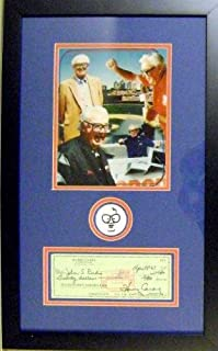 Harry Caray autographed framed check masterpiece with patch (Chicago Cubs)