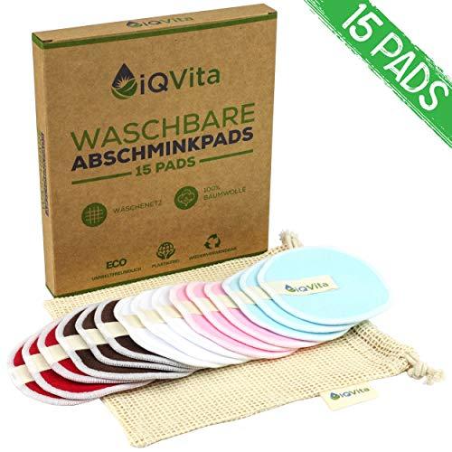 15 x waschbare Abschminkpads aus reiner Baumwolle – idealer Make-Up Entferner – 100% vegan und plastikfrei -...