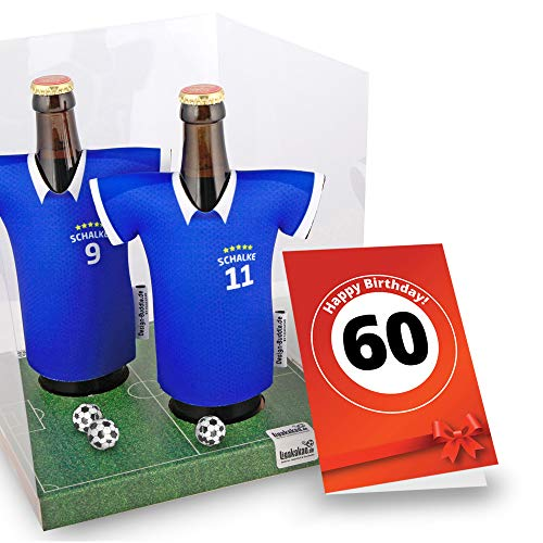 60. Geburtstag | Der Trikotkühler | Das Männergeschenk für Schalke-Fans | Langlebige Geschenkidee Ehe-Mann Freund Vater Geburtstag | Bier-Flaschenkühler by Ligakakao