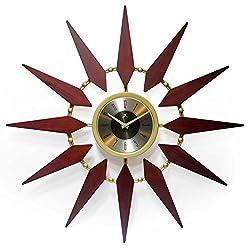 Infinity Instruments Orion 30 Inch Walnut Mid-Century Modern Starburst Wall Clock