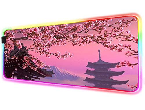 Mouse Pads Pink Landscape Cherry Blossom Pink Mousepad RGB Gaming Mouse Pad LED Laptop Keyboard Pad XXL Desk Mat 24x12x0.15 inch