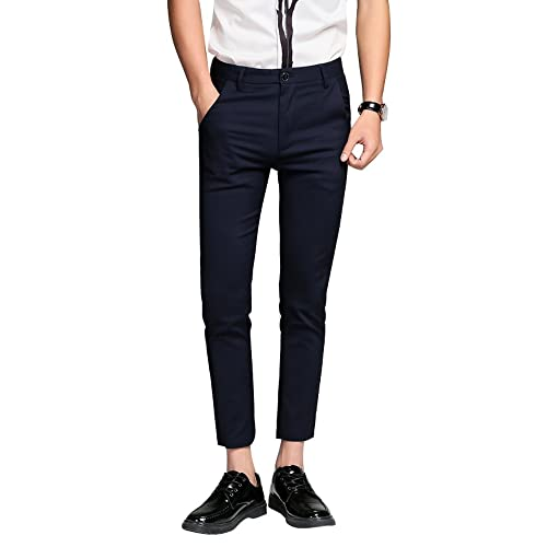 db21ba50eafe Plaid&Plain Men's Cropped Dress Pants Men's Slim Fit ...