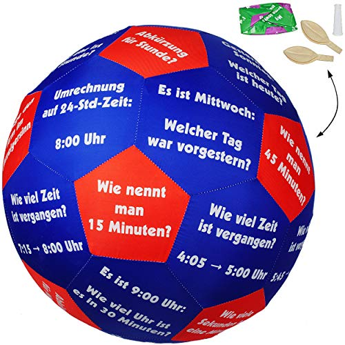 alles-meine.de GmbH XL - Lernspielball -  Uhrzeit & Zeit / Uhr - Tage & Wochentage !  - Ø 40 cm - Lernspiel Ball - Lernen & Üben & Kennenlernen - Lernball - Kinder / Erwachsene..